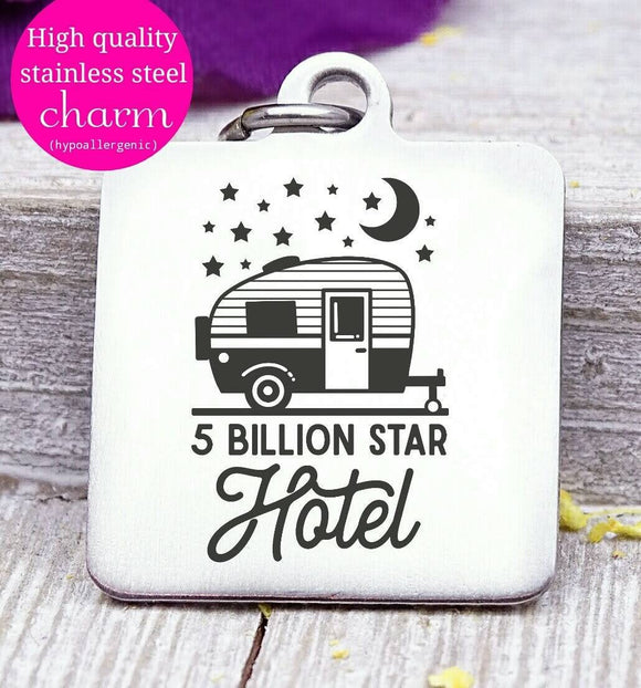 5 billion stars motel, camping, camper charms, Steel charm 20mm very high quality..Perfect for DIY projects