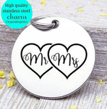 Mr and Mrs charm, couples charm, heart, heart charms, Steel charm 20mm very high quality..Perfect for DIY projects