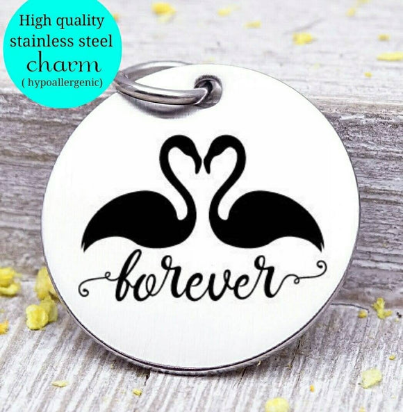 Forever love, swans charm, heart, couples charm, swans, forever charms, Steel charm 20mm very high quality..Perfect for DIY projects