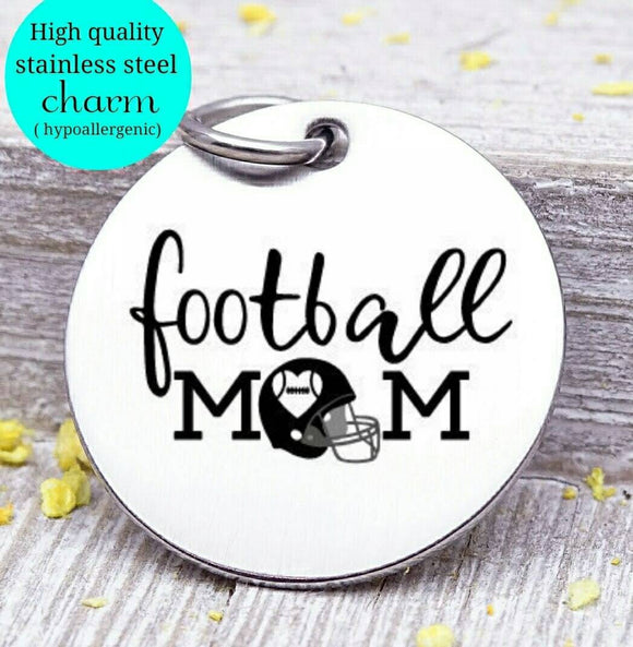 Football no , football, sports mom, sports, football charm. Steel charm 20mm very high quality..Perfect for DIY projects