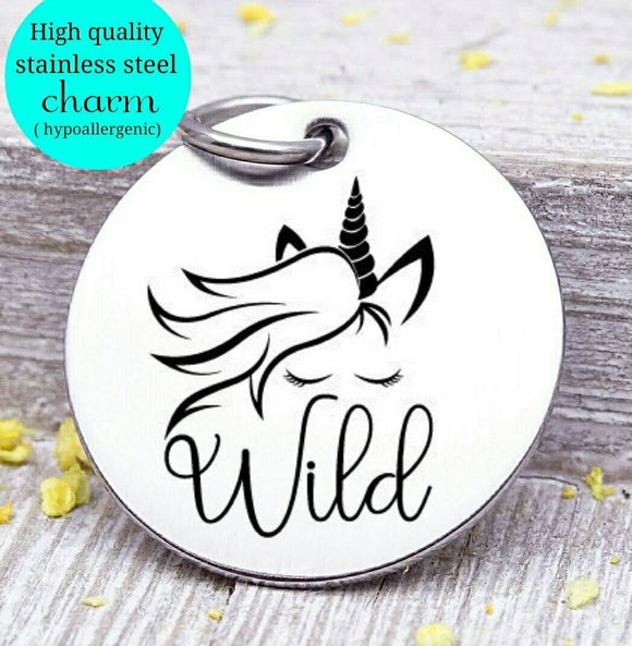 Unicorn, wild unicorn, wild, unicorn charm, I love unicorns, Steel charm 20mm very high quality..Perfect for DIY projects