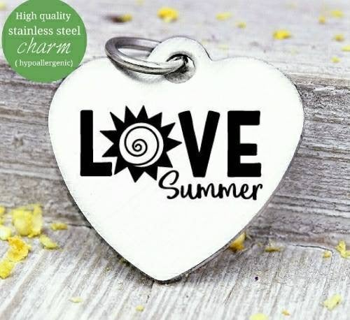 Love Summer, summer, summer charm, sun charm, love charms, Steel charm 20mm very high quality..Perfect for DIY projects