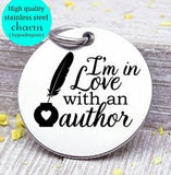 I'm in love with an author, good book, Book, love to read, read charm, Steel charm 20mm very high quality..Perfect for DIY projects