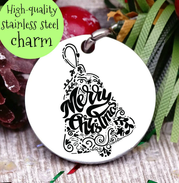 Merry Christmas, happy holidays, bell, christmas, christmas charm, Steel charm 20mm very high quality..Perfect for DIY projects