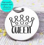 Queen, queen, princess, royalty, mom charms, Steel charm 20mm very high quality..Perfect for DIY projects