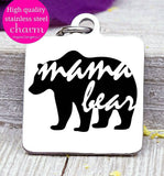 Mama bear, Mama bear charm, bear charm, bear, Mama charm, Steel charm 20mm very high quality..Perfect for DIY projects