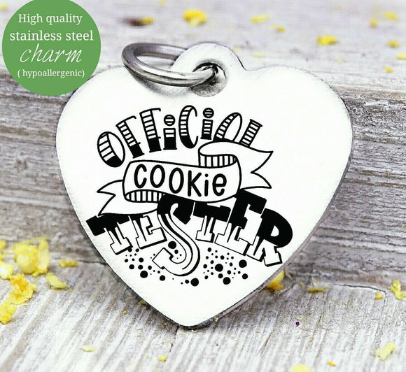 Official cookie tester, holiday cookies, charm, christmas, christmas charm, Steel charm 20mm very high quality..Perfect for DIY projects
