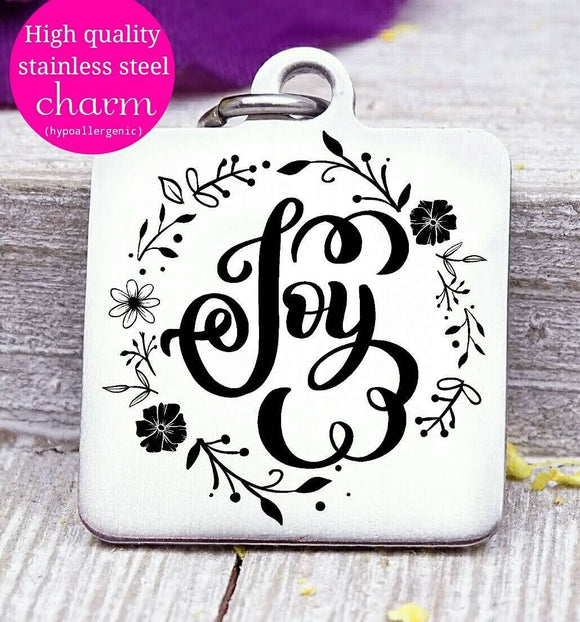 Joy, Choose joy charm, holiday, joy, joy charm, Steel charm 20mm very high quality..Perfect for DIY projects