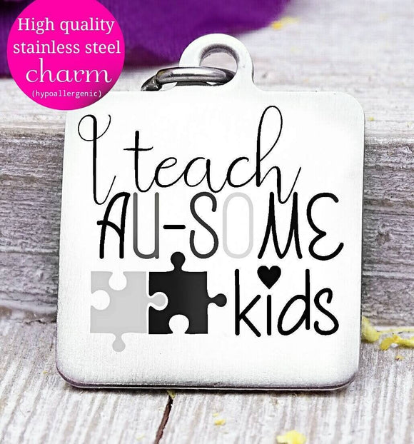 Autism, autism teacher, autism charm, stainless steel charm 20mm very high quality..Perfect for DIY projects