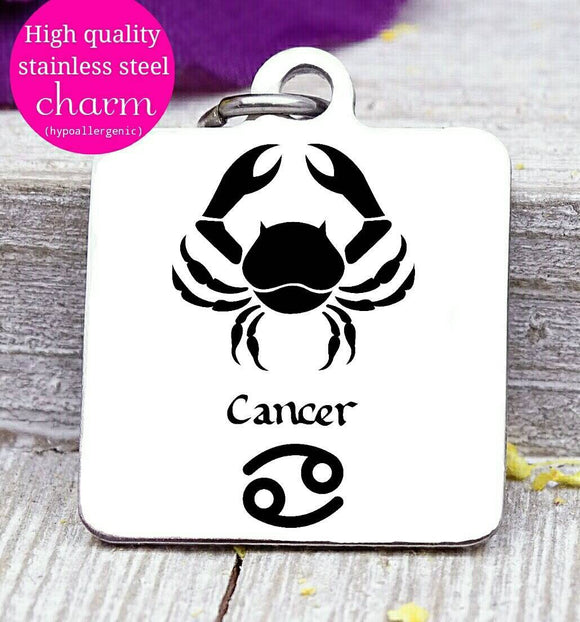 Cancer, Cancer charm, zodiac charm, steel charm 20mm very high quality..Perfect for jewery making and other DIY projects