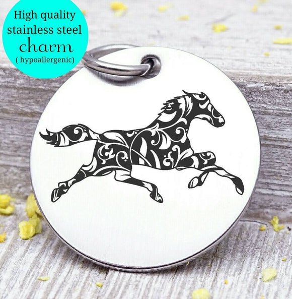 Horse, running horse, horse charm. Steel charm 20mm very high quality..Perfect for DIY projects