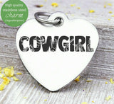 Cowgirl, cowgirl charm, horse, horseshoe charm. Steel charm 20mm very high quality..Perfect for DIY projects