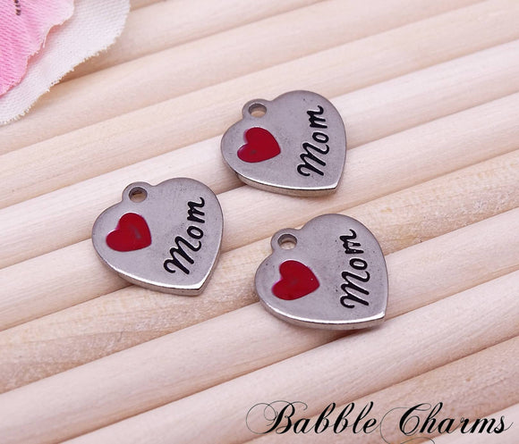 Mom charm, mom, love my mom charm, steel charm, 14mm very high quality..Perfect for jewery making and other DIY projects