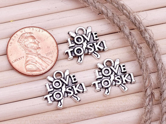 12 pc Love to ski, skiing. Ski charm, skiing charm, outdoor activities, Charm, Charms