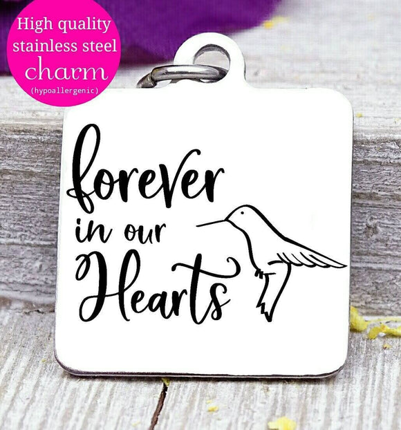 Forever in my heart, my in heart, heaven, memorial, angel charm, flower, Steel charm 20mm very high quality..Perfect for DIY projects