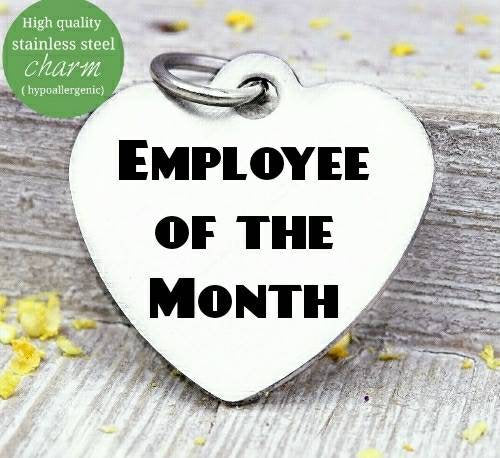 Employee of the month, best employee, employee charm, steel charm 20mm very high quality..Perfect for jewery making and other DIY projects