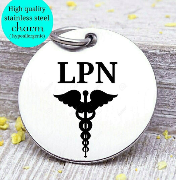 LPN charm, LPN, Nurse charm, profession charm, steel charm 20mm very high quality..Perfect for jewery making and other DIY projects
