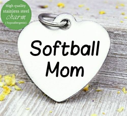 Softball mom, Softball , Softball charm, mom, sports, steel charm 20mm very high quality..Perfect for jewery making and other DIY projects