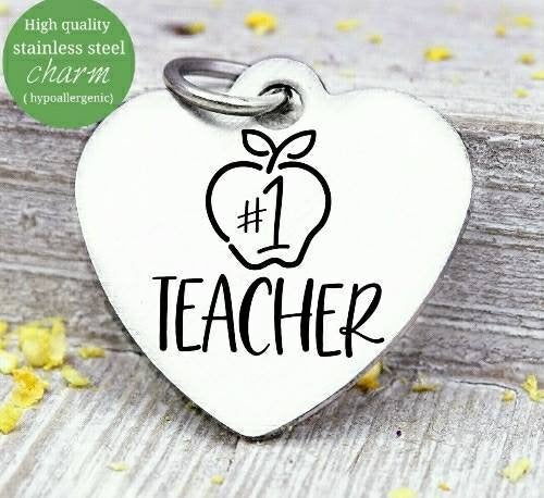 Teacher, Teacher charm, Teaching charm, stainless steel charm