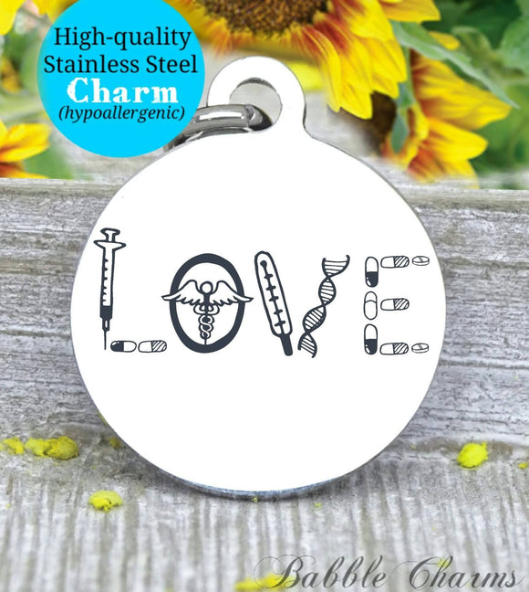 Nurse love, nurse, nurse charm, Steel charm 20mm very high quality..Perfect for DIY projects