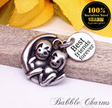 Best friends stainless steel charm, best buds charm, friends charm, bff charm, best buds, Charms, wholesale charm, alloy charm