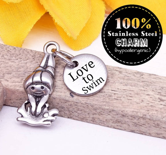 Love to swim, swimmer, swimmer charm, love to swim charm, swimming charm, swim charm, Charms, wholesale charm, alloy charm