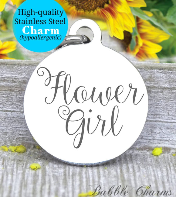 Flower girl, flower girl charm, bridal charm, wedding party, Steel charm 20mm very high quality..Perfect for DIY projects