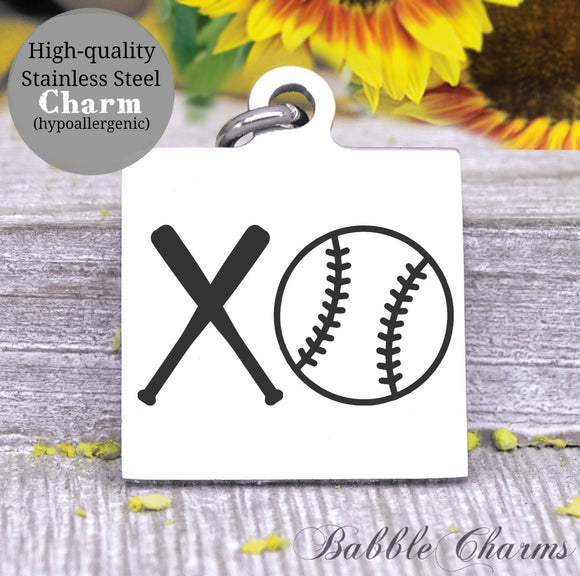 Baseball, sports, I love baseball, ba and ball charm, Steel charm 20mm very high quality..Perfect for DIY projects