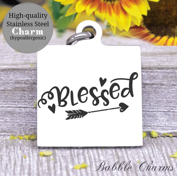 Blessed, blessed charm, Steel charm 20mm very high quality..Perfect for DIY projects