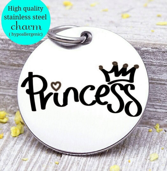 Princess, princess charm, little princess charm, Steel charm 20mm very high quality..Perfect for DIY projects