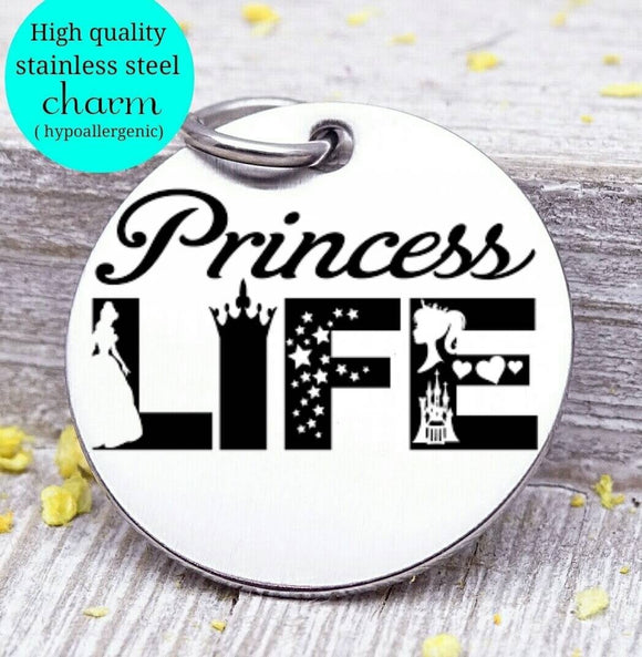 Princess, princess life charm, little princess charm, Steel charm 20mm very high quality..Perfect for DIY projects