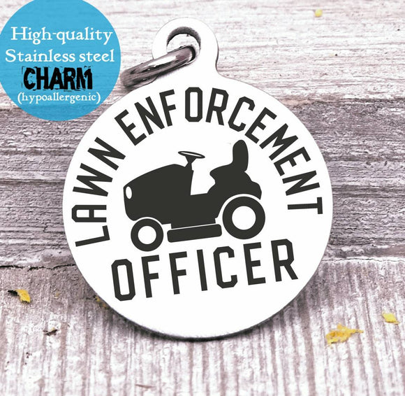 Dad charm, lawn enforcement, dad, dad charm, Father's day, Steel charm 20mm very high quality..Perfect for DIY projects