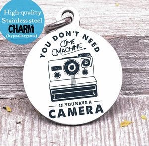 Camera charm, camera, vintage charms, Steel charm 20mm very high quality..Perfect for DIY projects