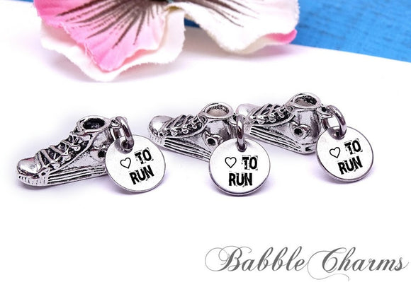 12 pc Shoe charm, love to run charm, shoe, shoe charm, sneaker, Charms, wholesale charm, alloy charm