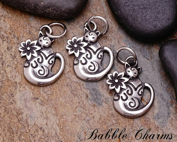 2 pc Cat charm, cat charms. stainless steel charm ,very high quality.Perfect for jewery making and other DIY projects