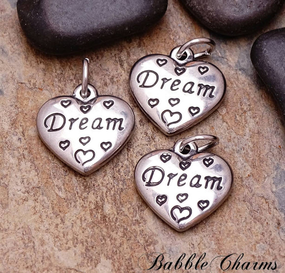 2 pc Dream charm, heart charms. stainless steel charm ,very high quality.Perfect for jewery making and other DIY projects
