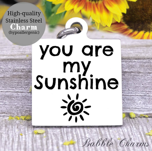 You are my Sunshine a sunshine, sunshine charm, Steel charm 20mm very high quality..Perfect for DIY projects