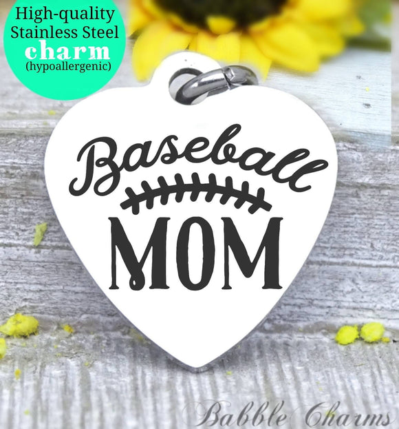 Baseball mom, sports mama, I love baseball, mama charm, Steel charm 20mm very high quality..Perfect for DIY projects