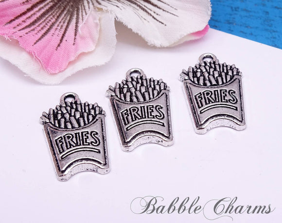 12 pc fries charm, fries, french fries, fry charm, wholesale charm, alloy charm