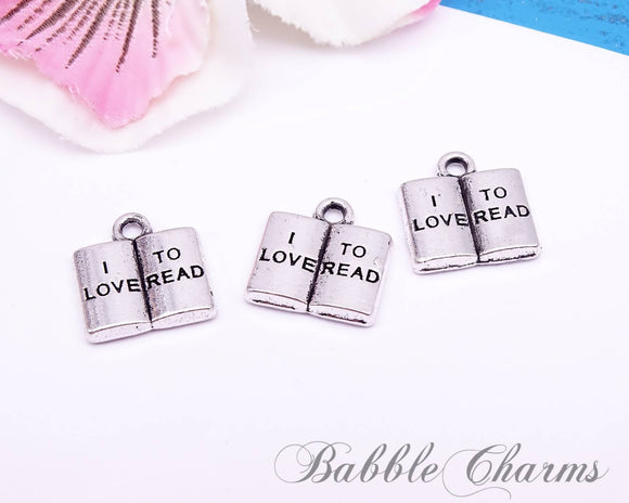 12 pc Book charm , Book, open book charm, Charm, Charms, wholesale charm, alloy charm