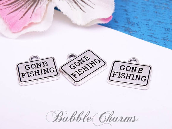 12 pc Gone Fishing, fish charm, animal charms. Alloy charm ,very high quality.Perfect for jewery making and other DIY projects