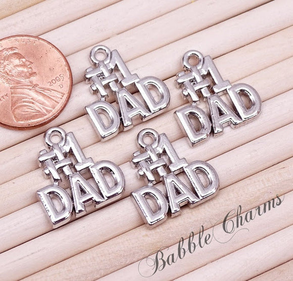 12 pc Dad, #1 Dad charm, dad, dad charms, Charms, wholesale charm, alloy charm