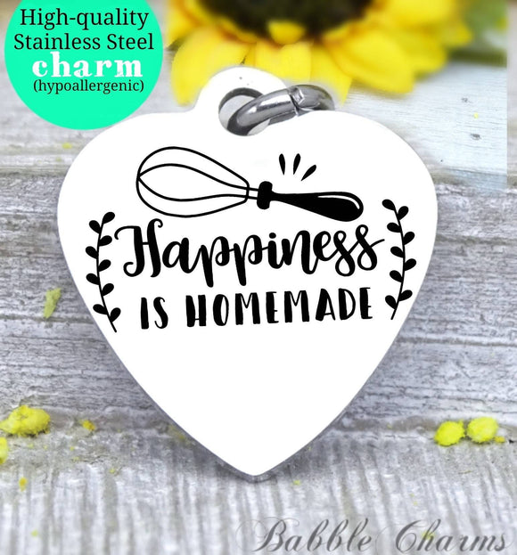 Happiness is homemade, happiness charm, family charm, charm, Steel charm 20mm very high quality..Perfect for DIY projects