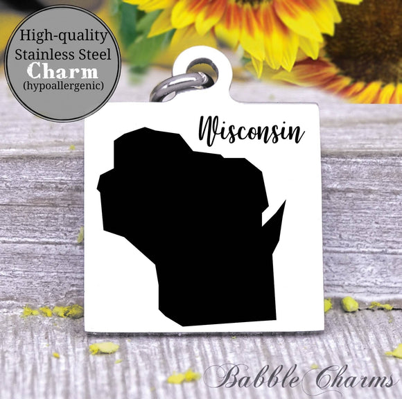 Wisconsin charm, Wisconsin, state, state charm, high quality..Perfect for DIY projects