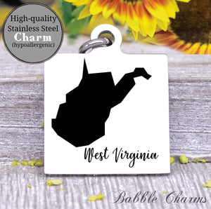 West Virginia charm, West Virginia, state, state charm, high quality..Perfect for DIY projects