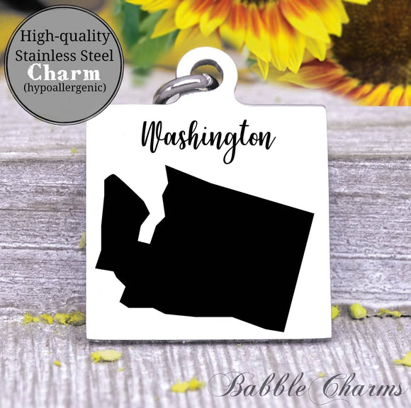 Washington charm, Washington, state, state charm, high quality..Perfect for DIY projects