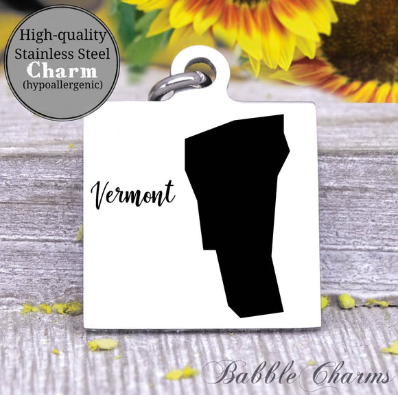 Vermont charm, Vermont, state, state charm, high quality..Perfect for DIY projects