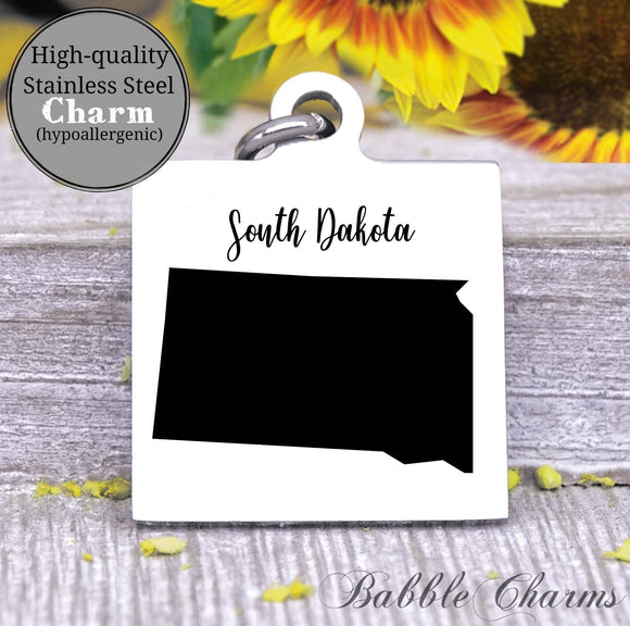 South Dakota charm, South Dakota, state, state charm, high quality..Perfect for DIY projects