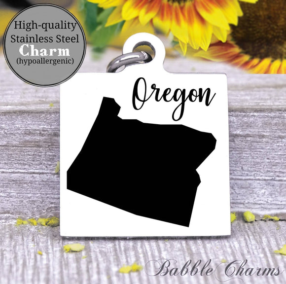 Oregon charm, Oregon, state, state charm, high quality..Perfect for DIY projects