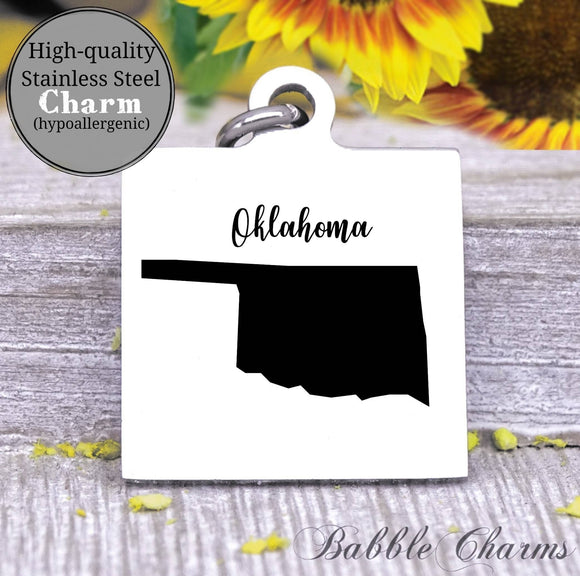 Oklahoma charm, Oklahoma, state, state charm, high quality..Perfect for DIY projects